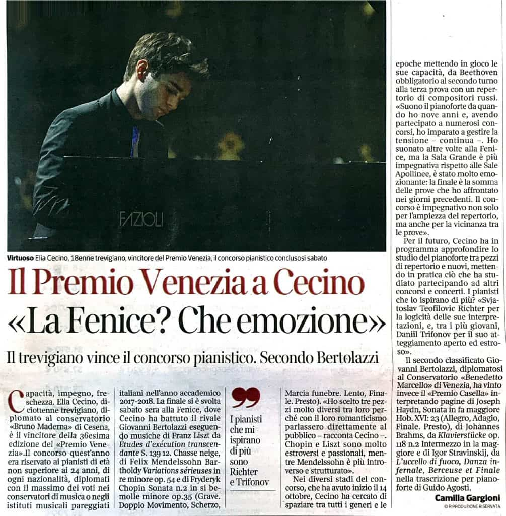 Elia Cecino Articolo giornale
